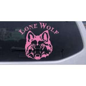 Lone Wolf Head Biker Car Window Wall Laptop Decal Sticker    Pink 20in