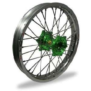 Pro Wheel MX Rear Wheel Set   19x1.85   Silver Rim/Green Hub 24 21051