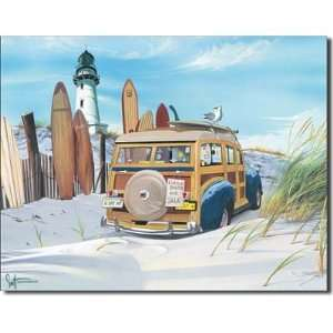 Day Mate Car on Beach Surf Board Surfing Tin Sign