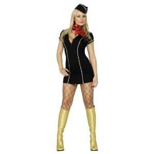 LADIES AIR HOSTESS STEWARDESS FANCY DRESS COSTUME 8 10