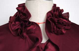 New Womens Clothes Red Gray Ruffle Collar Detail V neck Top Shirt