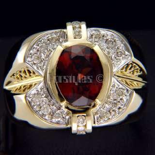 Natural Garnet Diamonds 14K Solid Gold Mens Ring r00060