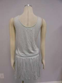 NWT Z SORRCE Grey Chain Trim Ruffle Sleeveless Dress S M L Drop waist