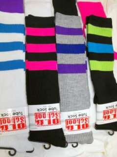Pair Old School Knee High Tube Women Striped Socks Roller Derby