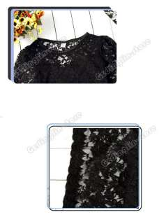 Womens Sexy Long Sleeve Stylish Lace Mini Dress #090