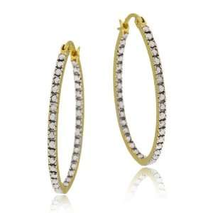 18k Yellow Gold Plated Sterling Silver Diamond Accent Oval