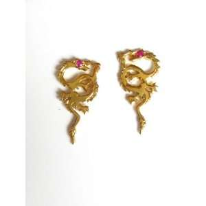 Dragon Earrings in 18k Yellow Gold with Ruby Eyes Jewelry
