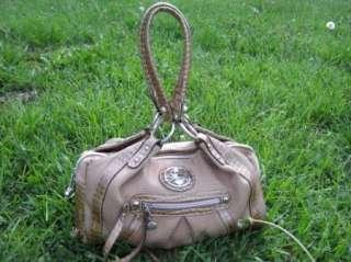 KATHY VAN ZEELAND Purse Bag Handbag Tan Gold Croc Trim Canvas Vinyl