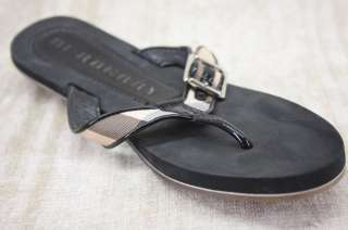 Burberry Womens Rubber Black Nova Check Thongs 40 10 US Flip Flop