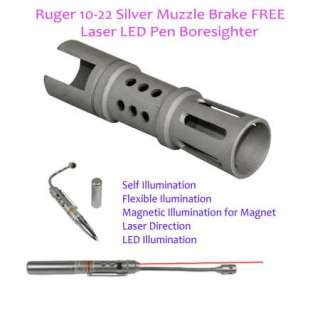 Ruger 1022 Stainless Steel Silver Muzzle Break [Long] w/ Free Gift 10