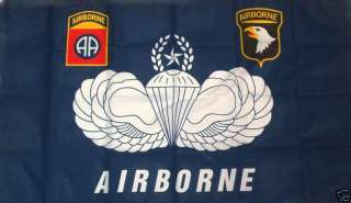 Army 82nd 101st Airborne Logos Parachute Wings 3x5 Flag
