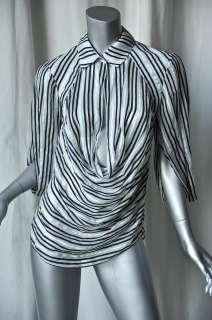 ZAC POSEN Stripe SILK Cowl Blouse Drape Top Shirt 4 NEW