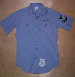 US Navy Issue Blue Chambray Uniform Shirt Size Small 38 Chest