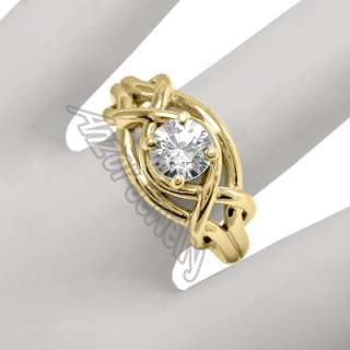 14k Solid Yellow Gold Natural White Sapphire Ring Sizes 4 to 9.5