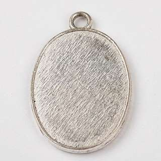 15x Tibetan Silver Oval Shape Gemstone Resin Photo Frame Charm Pendant