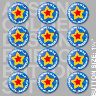 12) SUPERSTAR Pinback Buttons Pins   Super Star