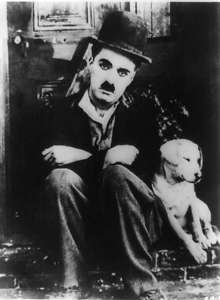 1918 Charlie Chaplin with dog Scraps in A dogs life