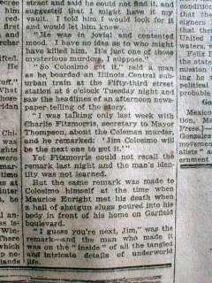 1920 Chicago newspapers JIM COLOSIMO DEAD Al Capone kills Mafia leader