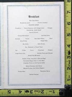 1932 U.S.S. Calamares United Fruit Co. Illustrated Breakfast Menu