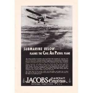 1943 WWII Ad Jacobs Aircraft Engines Civil Air Patrol U Boat Spotter
