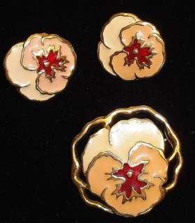 Vintage 1980s Enameled Pansy Flower Brooch & Earrings