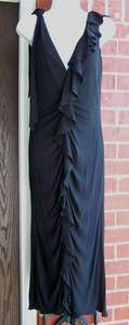 Yigal Azrouel Black Long Ruffle V Dress 2 Small NWT