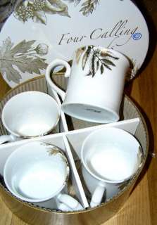 Rosanna Four Calling Birds Boxed Set of Gold New Mugs Christmas FREE