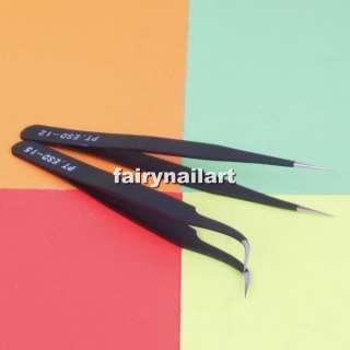 Rhinestone Eyelash Nipper Tweezer Clip Nail Tool