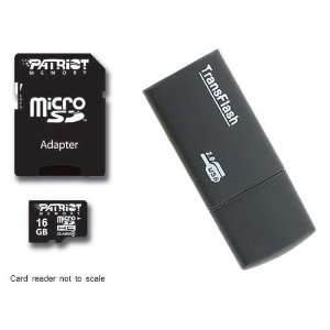 Patriot microSDHC Memory Card + Black USB Card Reader + SD Adapter
