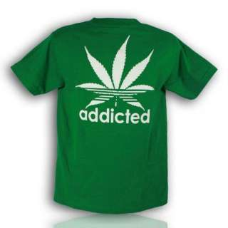 Men Funny T Shirt Addicted Weed NEW All sizes