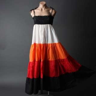 Women Bohemian Summer Color Block 70s Gypsy Boho Tiered Long Maxi Sun