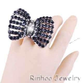 Bowknot Black Rhinestone Crystal Oversize Stretch friendship Ring