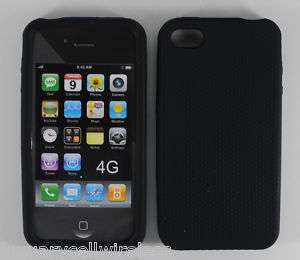Black Silicone Case + LCD SCREEN Apple iPhone 4 4G 4th