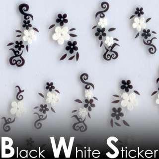 MV26 Black White Cotton 3D Nail Art Tips Decal Sticker