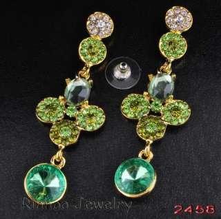 Green rhinestone&Gold plating alloy earrings 1pair Free