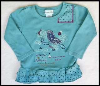 NAARTJIE Blue Bird Shirt Ruffle Pant Socks Outfit 12 18