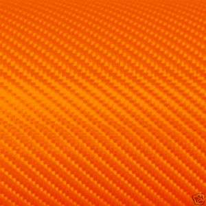 3D ORANGE CARBON FIBER VINYL STICKERS DECALS 20X24