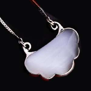 Good Luck Charm Natural White Opal Stone On Thai Silver Pendant for