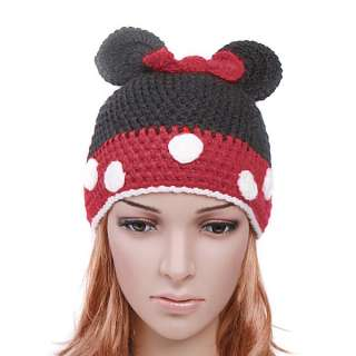 Cartoon Minnie Mouse Knitted Wool Winter Cap Hat Beanie for Children