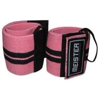 PINK WRIST WRAPS Elastic Support Weight Lifting w/ Thumb Loop