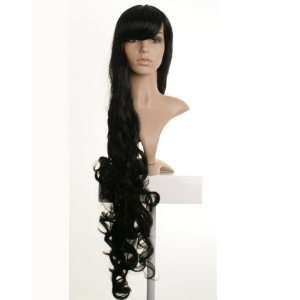 Long Black Curly ladies Wig     Premium Quality Synthetic Hair Beauty
