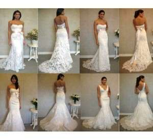 Customized White/Ivory Lace Wedding Dresses Prom Gown All Size 6 8 10