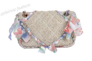 CHANEL RUNWAY Coco Country Collection Beige Tweed Silk Bow Classic