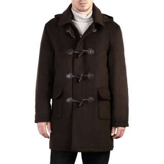 Mens Hooded Wool Blend Toggle Duffle Coat Color BROWN