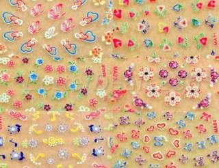50 X Flower 3D Nail Art Design Manicure Stickers Decals