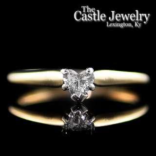 Heart Shaped .35 C Diamond Solitaire 14 Karat Yellow Gold Engagement