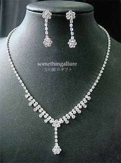 WEDDING RHINESTONE CRYSTAL NECKLACE EARRINGS SET WN62