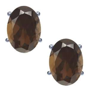 1.50 Ct Oval Brown Smoky Quartz 14K White Gold Basket Stud