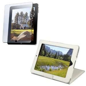 Apple® iPad® White Leather Case W/ Kick Stand + Lcd Screen Shield
