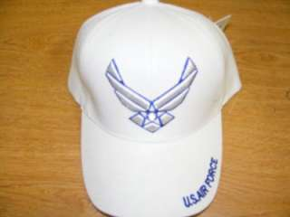 USAF AIR FORCE WINGS WHITE MILITARY BALLCAP CAP HAT